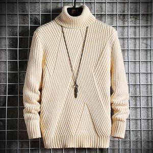 İlkbahar Sonbahar Erkek Triko Streetwear Japonya Stili Triko Erkekler Rasgele Harajuku Uzun kollu Erkek Giyim Turtelneck Süveter erkekler