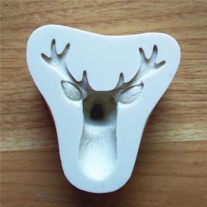 Christmas Head Head Silicone Moule en Espiècage Chocolat Cake Cake Deer Moules Fondant Moule Diy Cuisson Tool Tool Cookies Moules VT0305