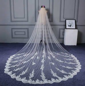 In Stock 4M Long Veil Designer Lace Appliqued Cathedral Length Appliqued Ivory Wedding Veil Bride Veils Bridal Hair With Free Comb New