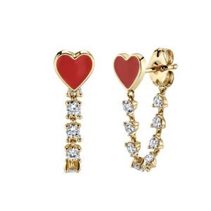 حبيب صديقة هدية ربط سلسلة تشيكوسلوفاكيا رومانسية الأحمر المينا القلب سلسلة طويلة القرط الفاخرة النساء رائع المجوهرات