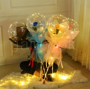 Valentines Day Flashing Light Rose Bouquet LED Balloons Light Luminous Ball Balloon Lover Gifts Birthday Wedding DB464