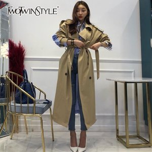 Galcaur Rayas Rayas Cortavientos Para Mujeres Manga Larga Lace Up Trench Abrigo Femenino Moda Coreana Otoño de gran tamaño 201111