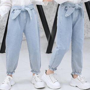 2021 Jeans, Korean Solid Pants, Light Blue Fashion, Spring Autumn Girls' and Big Kids' Foreign Style, Middle Waist Children's