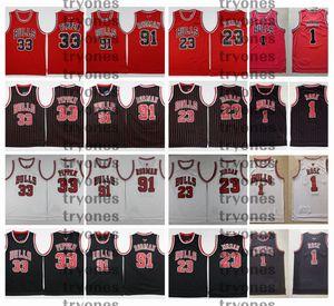 NCAA Vintage Derrick 1 Rose Scottie 33 Pippen 23 Michael Jodan The Worm Dennis 91 Rodman Basketball Jersey Black White
