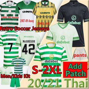 2020 21 Celtic Retro Futebol Jerseys Edouard Brown Duffy Taylor Christie 1980 87 89 98 9899 camisa de futebol homens Kit Kit uniformes