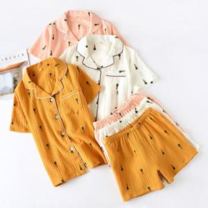 Yeni bayan pijama uymak yaz rahat pamuk gazlı bez yaka pijama takım elbise kadın ince gevşek karikatür havuç baskı ev hizmeti 201027