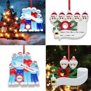 2020 Christmas Quarantine Ornaments Family of 1-7 Survivor PVC Xmas Tree Snowman Old Man Pendant Decoration Pandemic With Face Mask E101202