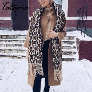 Lenço do inverno de Tataria Mulheres por Mulheres Leopard Scarf suave e quente Cashmere Engrosse longos xales e cachecóis Brown Leopard Poncho