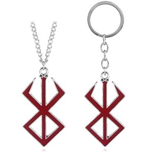 Cartoon BERSERK Logo Keychain For Men Red Enamel Metal Keyring For Keys Men Car Women Bag Accessories