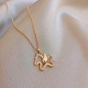 Elegant Angel Flügel Niedlich Fohlen Halskette 14k reales Gold Zircon Kette Kolye Clavicleweinlesehalskette Choker Geburtstags-Geschenk Hochzeit Schmuck