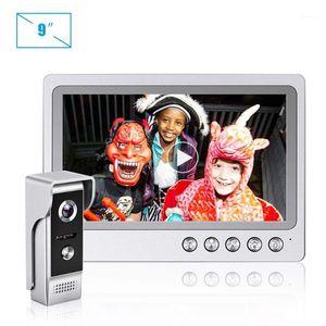 Video Door Phones Intercom Phone System 9 Inch Monitor Record Doorbell With Camera,Metal IR Night Vision Camera Call Panel For Villa1