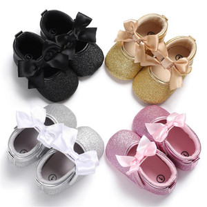 Baby First Walkers Toddler Kids Baby Girls PU Princess Bow Loving Heart Shoes Bowknot Lace Up Glitter Crib Sole Sneaker