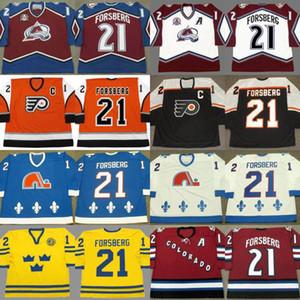 Custom Retro 21 Peter Forsberg Jersey Colorado Avalanche 1996 2001 2002 2010 Filadelfia Flyers 2006 Quebec Nordiques 1994 Jerseys