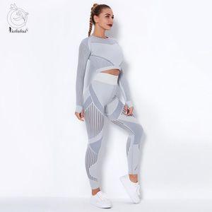 Yushuhua Mulheres Seamless Yoga Set Gym roupa da aptidão Leggings Top Curto camisas Esporte Suit Mulheres manga comprida Treino Wea Ativo