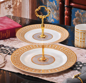Высококачественные 2 слоя торт пластины свадебный торт дисплей лоток десерт фрукты овощные керамические блюдо послеобеденные чайные стойки вечеринка кекс стенд