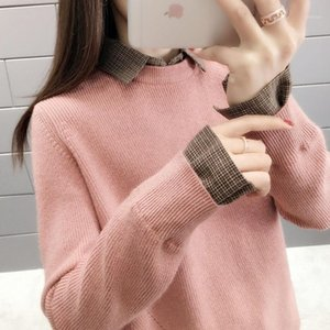 2020 spring and autumn sweater women's new hedging loose Korean students fake two shirt collar bottoming sweater1