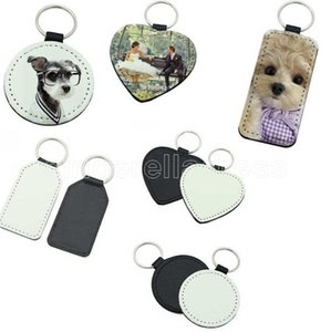 Blank sublimation PU leather personalize keychain hand strap for car cell phone heart Rectangle round shape key chain Charm for customized