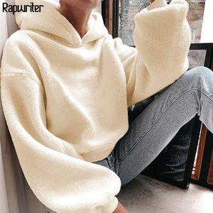 Rapwriter Casual Loose Raglan Long Sleeve Keep Warm Furry Hoodies Women Fall Winter Harajuku Pullovers Sweatshirt Solid Top 201017