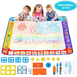 Magic Water Drawing Mat 100x100cm Doodle Mat Drawing Pens Stamps Set Painting Board Educational Toys For Kids