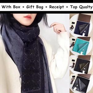 2021 선물 상자 선물 가방 영수증 태그 스카프 여성 남성 겨울 디자이너 망 스카프 Pashmina 양모 캐시미어 따뜻한 패션 스카프