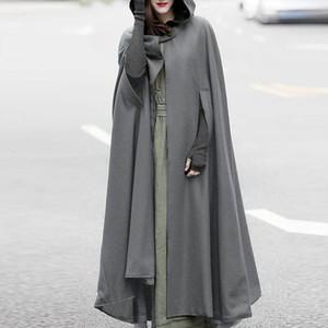 Hot Sale Autumn Cloak Hooded Coat Women Vintage Gothic Cape Poncho Coat Medieval Victorian Warm Long Open Stitch Jackets Plus Size