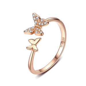 Alta Qualidade CZ Zircon embutido Rose Gold Butterfly Butterfly Anel S925 Sterling Silver Anel aberto SCR087-C