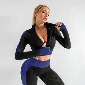 Buy Women sportswear and get 1 masks ladies sports tight long sleeve suit fitness long sleeve yoga seamless set