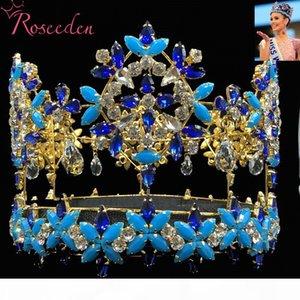 Baroque pleine ronde Miss Monde Couronne Tiara Avec Blue Crystal strass Princesse Reine Tiara Re3021 C19022201