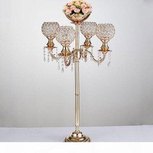 89 altos 5 brazos de cristal candelabras boda candelabro con bonito tazón de flores de metal con vela de metal decoración del evento