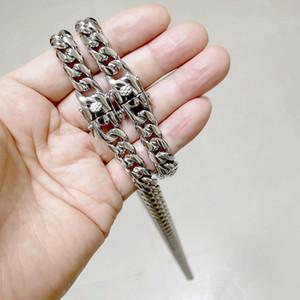Erkek Takı Setleri Paslanmaz Çelik Hip Hop Küba Zincirleri Çift Güvenlik Klipsleri Chokers Kolye Curb Link Bilezikler 8mm / 0mm / 12mm