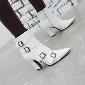 White Ankle Boots Zipper Winter Shoes For Women Boots-women Booties Ladies Platform Low 2020 Rubber Pointy Autumn Large