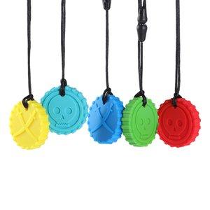 Silicone rond crâne chew collier pirate mordre pendentif pendentif jouet bébé dentisters autisme sensoriel outils spéciaux dhe4585