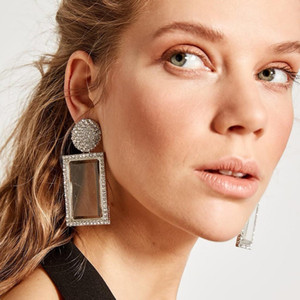 Designer Geometric Rhinestone Earrings Women Fashion Rectangle Big Statement Dangle Drop Earring Daily Wedding Party Iced Out Jewelry Gift