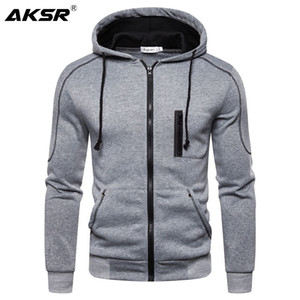 AKSR Pulls Cardigan Sweat Zipper Streetwear Hip Hop One Piece Sweat à capuche Sport Sweat à capuche uni Sudadera 201020