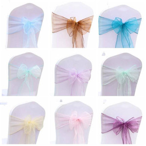 Organza Chair Sash Bow For Cover Banquet Wedding Party Event Chrismas Decoration Sheer Organza Fabric Chair Covers Sashes LLS631