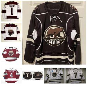 Vintage Uomini Hershey Bears 1 Brian Holt al 7 Steve Oleksy 4 Carlson hokey Jersey Washington Capitale Personalizza qualsiasi nome e numero Maglie
