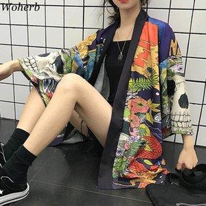 WOHERB 여름 일본 하라주쿠 기모노 두개골 인쇄 빈티지 블라우스 자켓 YUKATA 카디 건 재킷 여성과 남자 shirtlj200831
