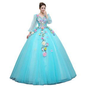 Quinceanera Dress Full Sleeve V-neck Party Prom Solo Ball Gown Sweet Flower Embroidery Host Quinceanera Dresses