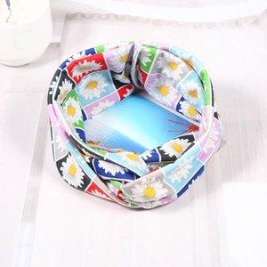 Coreano Multicolor Tie Dye Stampa Tipo di stampa Twist Cross Headband Sport Yoga Turban Fandbands Wide Elastic Headwear Accessori Q WMTABK