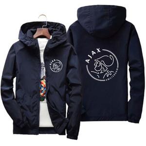 Весна случайные водонепроницаемый Bomber Куртка с капюшоном Мужчины Anime АЯКС печати Тонкий Zipper Тонкий Лоскутная Ветровка куртка Мужской Outwear