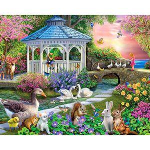 Bricolaje taladro Encuadre de diamante Pintura de punto de cruz cisne de dibujos animados Jardín diamantes de imitación bordado mosaico Decoración completa la cruz del diamante -Stitch