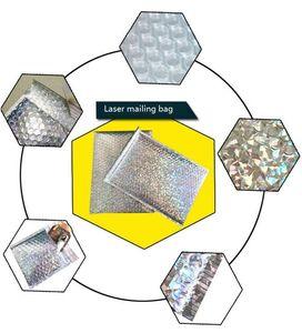 15*13cm (6x5inch) 20pcs Silver Padded Shipping Envelope Metallic Bubble Mailer Aluminum Foil Gift Bag Packing Wrap