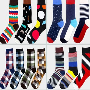 DHL Men Cotton Stocking New Spring Summer Happy Socks Coforful Athletic Sport Basketball Football Mid Tube Knee Casual Long Socks WX-S18