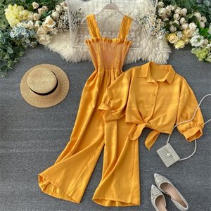 Vacation style two-piece set 2020 new suspenders pleated wide leg jumpsuit + short-sleeved cardigan shirt women tide X0923