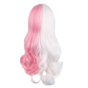 Anime Danganronpa Monomi Women Long Curly Wig Cosplay Costume Dangan Ronpa White Pink Mix Synthetic Hair Halloween Party Wigs