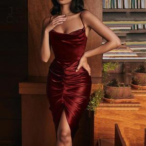 Justchicc satin seda mujeres midi vestido lateral plisado plisado invertido sexy vestido rojo 2020 otoño wntter fiesta ropa elegante