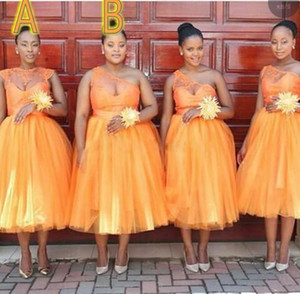 Orange Neck Plus Size Bridesmaid Dresses One Shoulder Crew Lace Applique Tulle Tea Length Maid Of Honor Gowns Wedding Guest Dresses L170