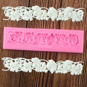 Vid Viñe Lace Fondant Moldes Sugarcraft Relieve Molde de silicona Pastel Decoración Herramientas Candy Polymer Clay Chocolate Gumpaste Moldes