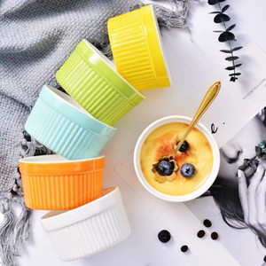 Cerâmica Mold Louça Forno Soup Bowl Kitchen Baking criativa Stripe Bolo Pudim Mousse Cup cor sólida Sobremesa bacia VT1832