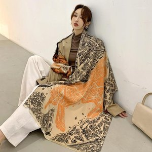 Schals doppelseitige Winter Kaschmirschals Frauen warme weiche Schal Mantel Mrs. Dicke Reise Decken Quaste Scarf1